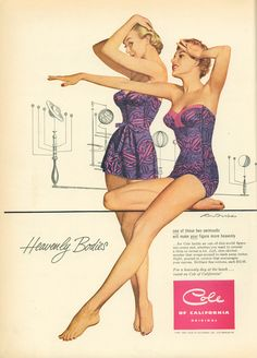 Beautiful pink and purple strapless swimsuits, 1952. #vintage #summer #fashion #1950s