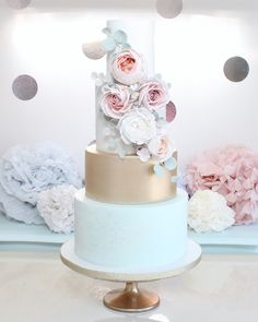 Mint, blush , gold wedding cake by Wish Upon a Cupcake