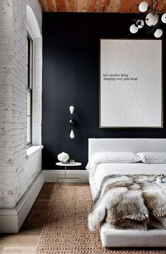 Grab your chance to apply industrial bedroom interior design in your own bedroom. Get the coziness in your bedroom perfectly Industrial Bedroom Design, Loft Interior Design, Industrial House, Modern Industrial, Modern Loft, Industrial Office, Modern Wall, Bedroom Ceiling, Bedroom Loft