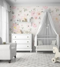 Rosy Outlook You don't have to go all Rainbow Brite to get a playful kids' room. A feminine, floral wallpaper pattern in a pastel hue delivers a subdued version of the big-and-bold look. Baby Bedroom, Baby Room Decor, Nursery Room, Girls Bedroom, Nursery Decor, Nursery Ideas, Room Ideas, Themed Nursery, Girl Rooms