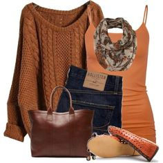 Brown, brown, brown with a little rust...entire outfit is fantastic!