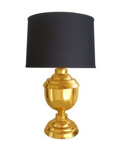 Brass Lamp.  Love the brass and black drum shade.