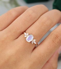 Beautiful Engagement Rings, Rose Gold Engagement Ring, Engagement Ring Settings, Vintage Engagement Rings, Diamond Wedding Bands, Moonstone Engagement Rings, Rose Gold Moonstone Ring, Sapphire Gemstone, Colored Engagement Rings