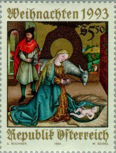 """Znaczek: """"Birth of Christ""""painting at the Krainburger Altar (Austria) (Christmas) Mi:AT 2114,Yt:AT 1943,ANK:AT 2145"""