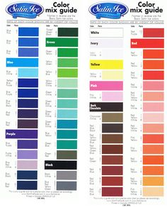Click to enlarge & print this awesome colour mixing chart for Satin ice fondant. Make a huge range of awesome colours from the standard Sati...