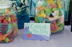 Gummy candy treats at an  under the sea birthday party! See more party planning ideas at CatchMyParty.com!
