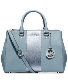MICHAEL Michael Kors Sutton Stripe Medium Satchel Light Teal Blue Shoulder Strap Handbag Designer Fashion