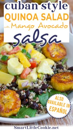 Cuban Style Quinoa Salad with Mango Avocado Salsa ~ A quick and delicious salad for the busy parent on-the-go made with quinoa, black beans, sweet plantains, mixed greens and a yummy mango avocado salsa. This is a sponsored conversation written by me on behalf of DOLE Sunshine Latino and #WeAllGrow Latina Network. The opinions and text are all mine. | @mydominicankitchen #bestcubanrecipes #bestquinoasalad Quinoa Avocado Salad, Mango Avocado Salsa, Mango Salad, Cuban Recipes, Salad Recipes, Snack Recipes, Mother's Day Brunch Menu, Healthy Breakfast Recipes, Healthy Recipes