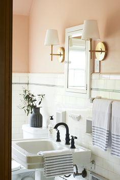 Blush - Classic - Bathroom Inspiration - Bath Towel - Mirror - Fouta Bath Collection via Serena Lily Image via The Sweet Beast Blush Bathroom, Boho Bathroom, Bathroom Colors, Bathroom Styling, Bathroom Interior, Bathroom Ideas, 1920s Bathroom, Small Bathroom, Lavender Bathroom