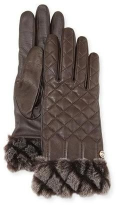 Shop Now - >  https://api.shopstyle.com/action/apiVisitRetailer?id=535757791&pid=uid6996-25233114-59 UGG Croft Quilted Leather Smart Gloves, Brown  ...