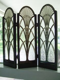 For about fifteen years, Barbara Sabia of Melbourne, Florida has been creating a wide range of intricate stained glass pieces. This includes... Art Deco Pattern, 1920s Furniture, Art Deco Furniture, Furniture Styles, Furniture Sets, Egyptian Furniture, Furniture Design, Furniture Logo, Plywood Furniture