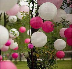 EQLEF® 10 morceaux de 8 pouces papier décoratif Lanternes pour le mariage anniversaire Garden- Blanc et rose chaud
