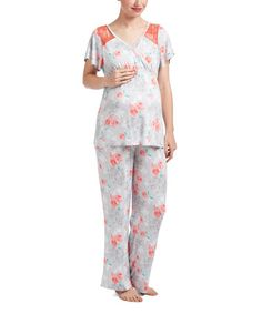 This Light Gray Floral Maternity/Nursing Cap-Sleeve Pajama Set is perfect! #zulilyfinds