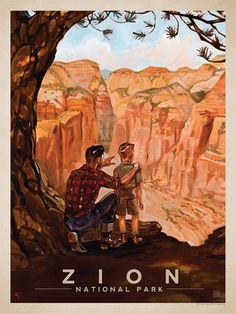 Zion National Park: View from the Top - Anderson Design Group has created an award-winning series of classic travel posters that celebrates the history and charm of America's greatest cities and national parks. Founder Joel Anderson directs a team of tale Vintage National Park Posters, Voyage Usa, American National Parks, Zion National Park, Vintage Travel Posters, Travel Usa, The Great Outdoors, State Parks, Art Print