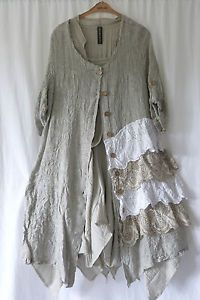 lagenlook plus | GERMAN-ZEDD-PLUS-LAGENLOOK-RUFFLE-LAYERED-LINEN-COTTON-DRESS-COAT-SZ-L ...