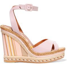 Valentino Leather and striped canvas espadrille wedge sandals ($495) ❤ liked on Polyvore featuring shoes, sandals, heels, wedges, pink, valentino, pink high heel sandals, pink platform sandals, platform heel sandals and platform sandals
