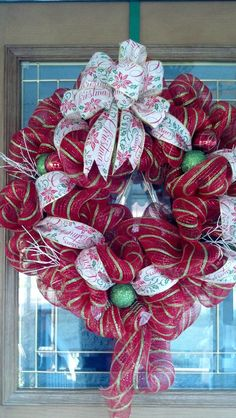 Red with Green stripe deco mesh wreath