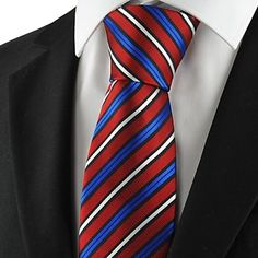 Mens Formal Red Necktie Striped White And Blue