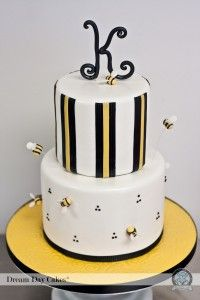 bee cake with K on top