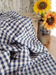 19th c Antique Kelsch Alsace France BLUE Red Stripe White PLAID Pillow Sham www.Vintageblessings.com