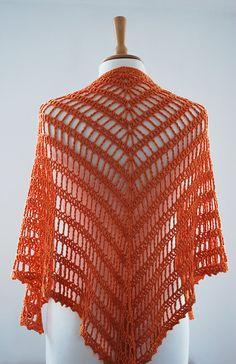 orange tiger shawl crochet triangular handmade wrap by annerstreet