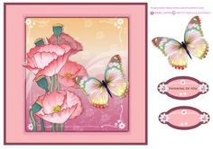 Pretty Poppies & Butterfly by Isabel Neves Pretty Poppies & Butterfly Quick Card Topper includes Decoupage Butterfly and 2 Sentiment Tags - Tag Reads: Think Of You and Blank for your own sentiments