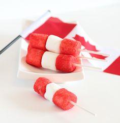 Happy Canada Day Pops!!! (Marshmallows dipped in jello powder)