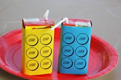 Lego juice boxes - print the sleeves out on your computer. @Ashley nix