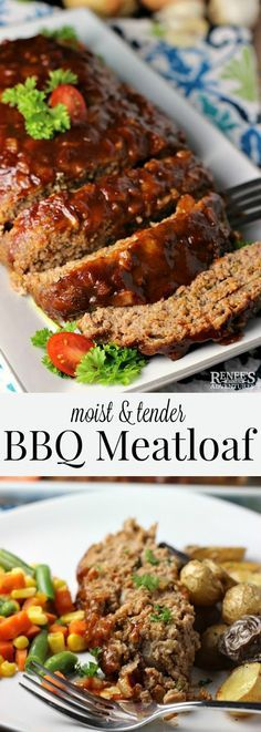 Best BBQ Meatloaf Renees Kitchen Adventures easy recipe for BBQ meatloaf made with ground beef Great choice for weeknight dinners or Sunday suppers Baked in the oven fo. Meat Loaf Recipe Easy, Meat Recipes, Cooking Recipes, Dinner Recipes, Chicken Recipes, Easy Bbq Meatloaf Recipe, Barbecue Meatloaf Recipes, Beef Recipes, Kitchens