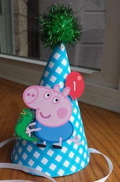 George Pig Birthday Hat by on Etsy Baby 1st Birthday, 3rd Birthday Parties, Birthday Party Decorations, Birthday Ideas, George Pig Party, Aniversario Peppa Pig, Cumple Peppa Pig, Valentino, Birthdays