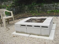 includes a fire pit for cheap! Budget Backyard: 10 Ways to Use Cheap Concrete Cinder Blocks Outdoors (fire pit for deck awesome)