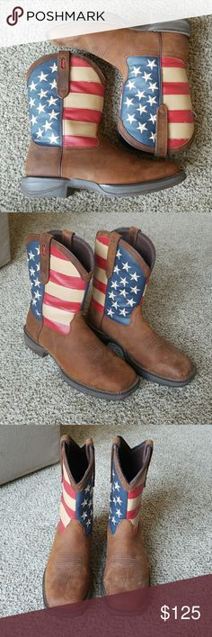 Men's Durango Rebel patriotic pull on boots Western boots with American Flag design. My husband wore these as part of a wedding party this summer. Only worn for a couple hours during the wedding. We purchase them for $170 plus tax. Durango Shoes Cowboy & Western Boots