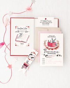 Chic Lit Invites   Invitations come with a bookmark and a bookplate; the latter is to be put into a book for the baby. Artist Anna Bond of Rifle Paper Co. created the stationery from her own hand-painted illustrations.