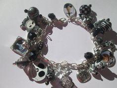 Halloween Charm  Bracelet with Black  beads / ITEM 4165