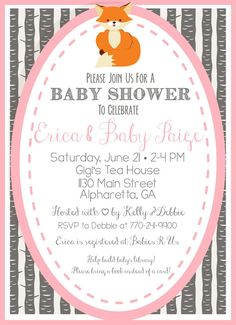 Woodsy Fox Baby Shower Invitation - Pink and Gray - Baby Girl - Customize COLORS - 5x7 - Fox - Fox Theme - DIY Shower - Woodland Creatures