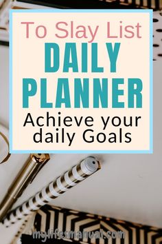 Planner for productivity. Grab the To Slay List Daily Planner to organize your daily schedule and achieve your daily goals. Set your daily . Mom Planner, Planner Tips, Planner Supplies, Goals Planner, Weekly Planner, Passion Planner, Printable Planner, Planner Stickers, Printables