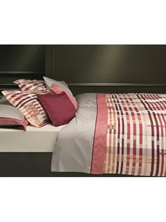 Luxury bedding: striped orange-rose-brown cotton duvet cover with taupe base. | plumesilk.com