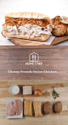 Cheesy French Onion Chicken Hero and roasted potato rounds French Onion Chicken, Cheesy Chicken, Home Chef, Roasted Potatoes, Chef Recipes, Food For Thought, Meal Planning, Main Dishes, Cheese Sauce