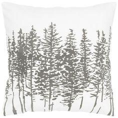 Silver Pine Tree Print Pillow | Kirklands