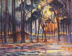 Woods near Oele -   Artista: Piet Mondrian (1872-1944) Data da Conclusão: 1908 Estilo: Post-Impressionism Género: landscape Técnica: oil Material: canvas Dimensões: 128 x 158 cm Galeria: Haags Gemeentemuseum, The Hague, Netherlands