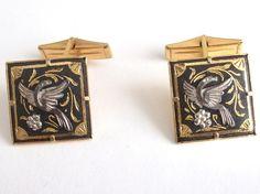 VINTAGE BLACK GOLD TONE & SILVER TONE DAMASCENE / TOLEDO BIRD MENS CUFFLINKS