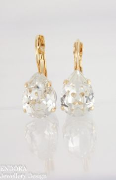 c8c8b7bba3 Gold bridal earrings | gold wedding jewelry | Swarovski Crystal earrings |  gold wedding | www
