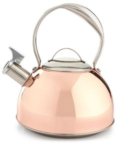 Classic copper takes on a sleekly modern look in this Belgique tea kettle. The gleaming finish makes it an elegant yet functional piece for your kitchen. | Stainless steel with copper plating | Hand w