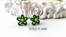 Macrame Earrings  , Macrame Flower Earrings,  Green Flower  Earrings  , Romantic  Earrings,  Earrings  for  present