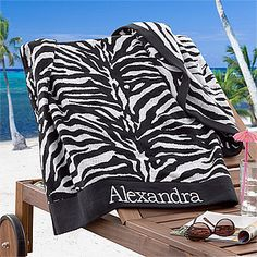 LOVE this cute Zebra Print beach towel - it's extra large and you can personalize it with any name in any color! Gotta love PersonalizationMall - they have the cutest stuff! #Zebra