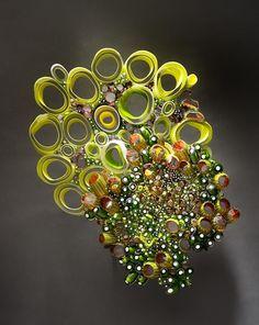 "Marsha Blaker-DeSomma, Luscious, blown, cut and fused glass, 18""hx6""wx4""d #ArtonTap"