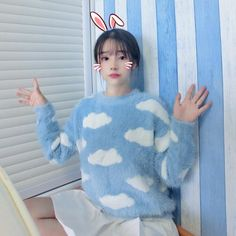 "Blue sweet printed sweaters  Coupon code ""cutekawaii"" for 10% off"