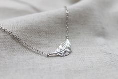 Dainty simple Feather Necklace  S21721 by Ringostone on Etsy, $12.00