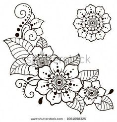 Set of Mehndi flower pattern for Henna drawing and tattoo. Decoration in ethnic … Set of Mehndi flower pattern for Henna drawing and tattoo. Decoration in ethnic oriental, Indian style – Kaufen Sie diese. Henna Hand Designs, Henna Tattoo Designs, Diy Tattoo, Mehndi Designs, Henna Flower Tattoos, Henna Designs Drawing, Henna Flower Designs, Henna Patterns, Zentangle Patterns