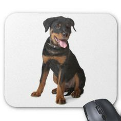 Happy Rottweiler Puppy Dog  Mousepad